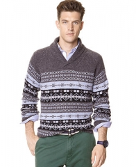 Nautica Sweater Fair Isle Shawl Sweater - Sweaters - Men - Macys at Macys