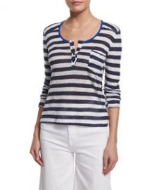 Nautical Striped Linen Henley Top  Navy Stripe at Neiman Marcus