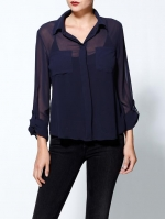 Navy blouse like Robins at Piperlime