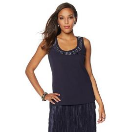 Navy embellished neckline tank top by Wendy Williams HSN Collection at HSN
