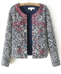 Navy embroidered jacket at She Inside