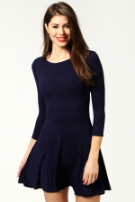 Navy flared dress at Boohoo