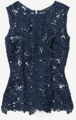 Navy lace cutout top at Intermix