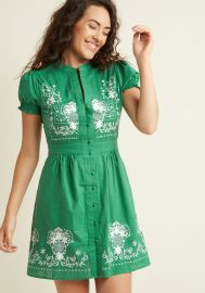 Needlework it Out A-Line Dress in Green at ModCloth