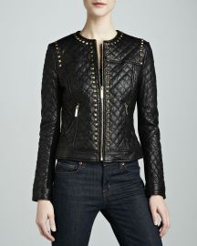 Neiman Marcus Golden Studded Quilted Leather Jacket at Neiman Marcus