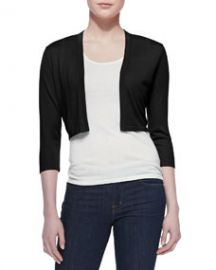 Neiman Marcus 34-Sleeve Silk-Cashmere Shrug Black at Neiman Marcus