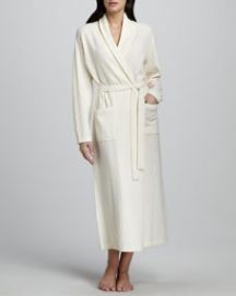 Neiman Marcus Chevron-Knit Long Cashmere Robe Ivory at Neiman Marcus