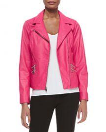 Neiman Marcus Leather Moto Jacket W Zip Pockets at Neiman Marcus
