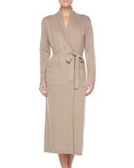 Neiman Marcus Long Cashmere-Silk Robe Taupe at Neiman Marcus