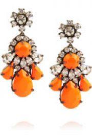 Neon gunmetal-tone crystal earrings at The Outnet