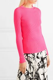 Neon ribbed-knit top at Net A Porter
