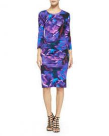 Nicole Miller Artelier 34-Sleeve Floral Jersey Dress at Neiman Marcus