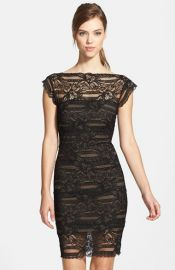 Nicole Miller Illusion Yoke Lace Sheath Dress at Nordstrom
