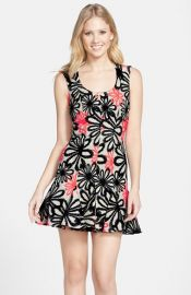 Nicole Miller Jacquard Fit andamp Flare Dress at Nordstrom