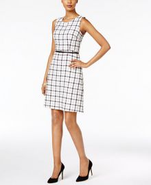 Nine West Belted Plaid Dress at Macys