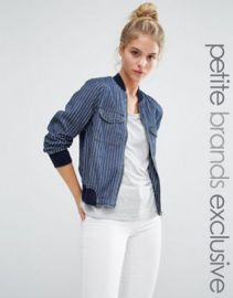 Noisy May Petite Denim Pin Stripe Bomber Jacket at asos com at Asos