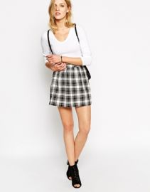 Noisy May  Noisy May Plaid Checked Mini Skirt at Asos