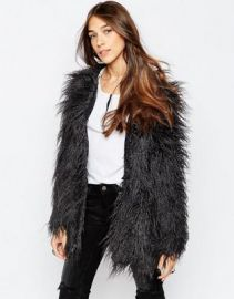 Noisy May Yogi Shaggy Faux Fur Coat at asos com at Asos