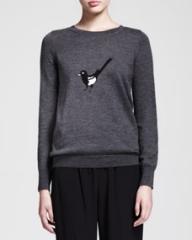Nonoo Magpie Bird-Print Wool Crewneck Sweater at Neiman Marcus