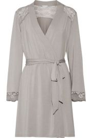 Noor lace-trimmed stretch-modal jersey robe at Net A Porter