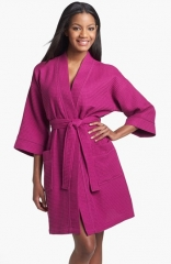Nordstrom Waffle Cotton Robe in fuchsia at Nordstrom