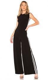 Norma Kamali Side Stripe Jumpsuit in Black  amp  Engineered Stripe from Revolve com at Revolve