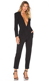Norma Kamali Tapered Leg Jumpsuit in Black Pinstripe from Revolve com at Revolve