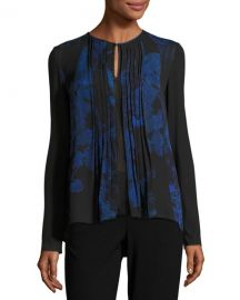 Northstar Holly Long-Sleeve Printed Silk Blouse at Neiman Marcus