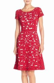 Nue by Shani Laser Cut Crepe Fit   Flare Dress red at Nordstrom