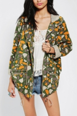 Numph Lenny Heart Camo Jacket at Urban Outfitters