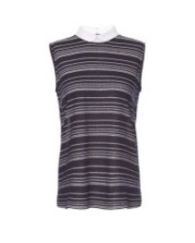 O2nd Sheer Stripe Collared Top at Scoop NYC