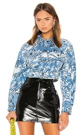 OFF-WHITE Tapestry Crop Denim Jacket in Medium Blue Wash from Revolve com at Revolve