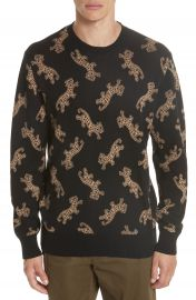 OVADIA  amp  SONS Leopard Jacquard Sweater at Nordstrom