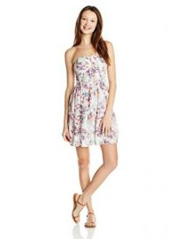 Oand39Neill Juniors Lotus Strapless Floral Print Dress at Amazon