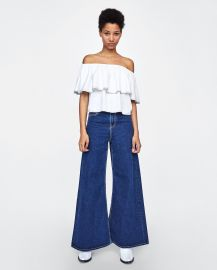 Off The Shoulder Top with Top Stitching at Zara