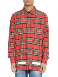 Off-White - Frayed Check Wool   Cotton Button-Down Shirt at Saks Fifth Avenue