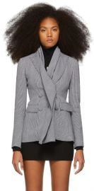 Off White Black White Galles Double-Breasted Blazer at SSENSE