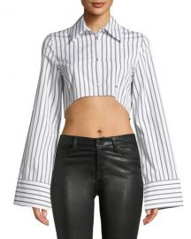 Off-White Button-Front Striped Cropped Shirt   Neiman Marcus at Neiman Marcus