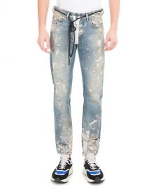 Off-White Diagonal Arrows Slim Vintage Paint Jeans   Neiman Marcus at Neiman Marcus