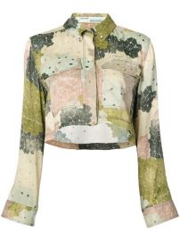 Off-White Floral Print Cropped Shirt at Farfetch