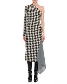 Off-White One-Shoulder Long-Sleeve Houndstooth Fitted Dress w  Drape Detail at Neiman Marcus
