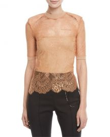Off-White Short-Sleeve Crewneck Sheer Lace Top w  Shoulder Pads at Neiman Marcus
