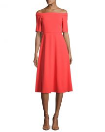 Off-the-Shoulder Crepe Midi Dress at Neiman Marcus