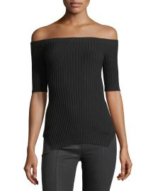 Off-the-Shoulder Short-Sleeve Ribbed Silk Top at Bergdorf Goodman