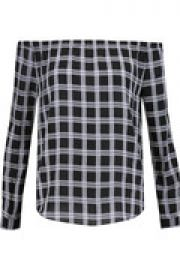 Off-the-shoulder plaid cotton-twill top at The Outnet