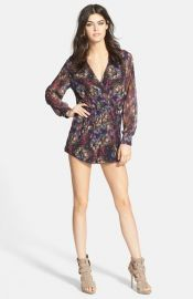 Oh My Love Long Sleeve Wrap Front Romper at Nordstrom