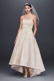 Oleg Cassini  Embroidered Satin High-Low Wedding Dress at Davids Bridal