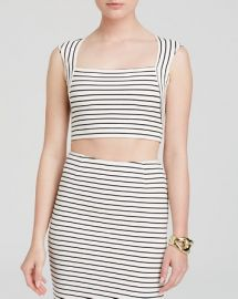 Olivaceous Top - Stripe Crop at Bloomingdales