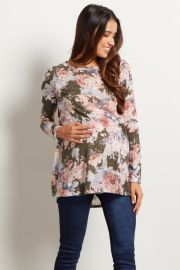 Olive Floral Print Maternity Knit Top at Pink Blush