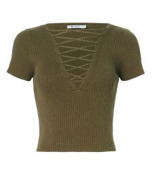 Olive Lace-Up Short Sleeve Sweater at Intermix